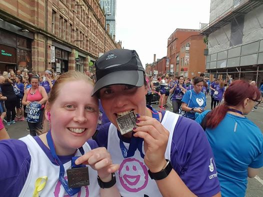 Clare Silcock and Sarah Duffy ran the Manchester 10k in May 2017 to raise money for Laughter Africa.