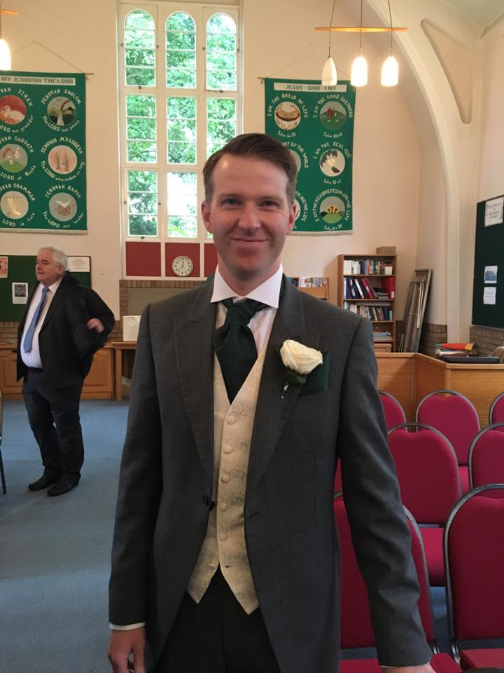 Eddie Caldow ran the London Marathon in 2017 to raise money for Laughter Africa. We haven't got a picture of him in his glamorous Laughter Africa vest so here is a photo of him just before he got married instead!